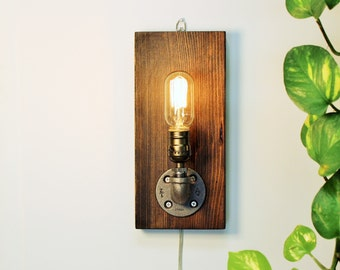 Industrial sconce light lamp-Unique wall light lamp-Steampunk wall light lamp-Edison bulb sconce-Bedside wall lamp-Rustic modern lamp-