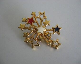 Vintage 1980's - Avon Gold Tone Rhinestone Starburst Brooch