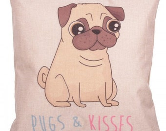 Cushion with Insert - PUGS & KISSES