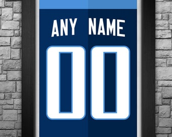 TENNESSEE TITANS custom jersey art print. Any name and number! Choose from 3 sizes!