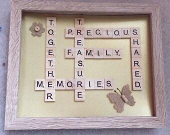 Precious memories scrabble frame