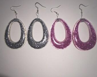 Glitter Drop Hoop earrings