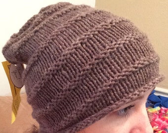 Brown Knitted Ribbed Hat