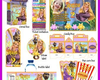 Rapunzel Party Package, Printable Party Kit, Invitations, Banner, Favour Box, Labels, Wrappers, Candy Box, Instant Download !