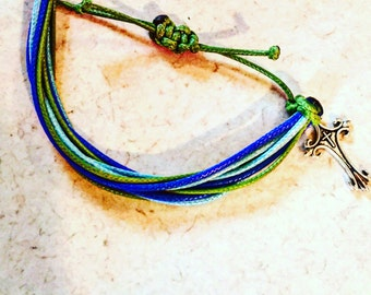 Blues and Green Stack Bracelet with Crucifix Charm
