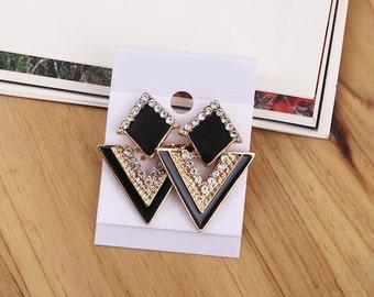 Vintage Enamel Gold-Plated Strass Triangle Stud Earrings