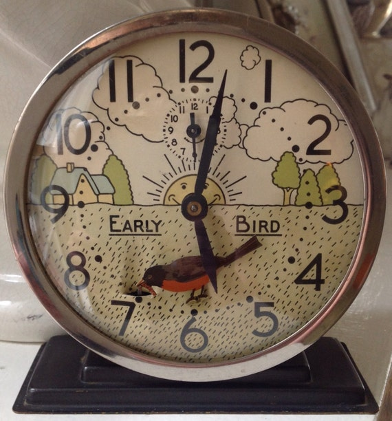 Vintage Clock Westclox Early Bird Animated Alarm Clock Little