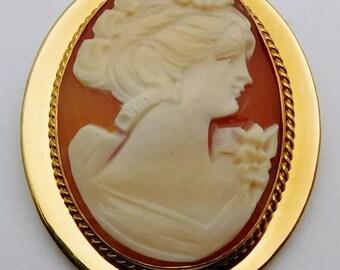 Old Antique Vintage 14k Gold Filled Carved Shell Cameo Brooch Pin Pendant Signed Van Dell