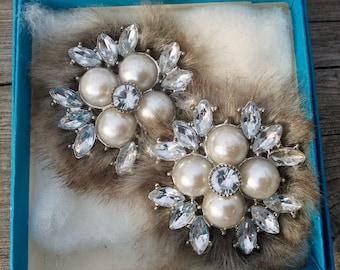 Unusual Vintage Clip On Earrings-Grey Faux Fur Rhinestones and Pearls