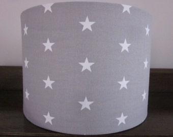 Handmade Lampshade Grey and White Stars