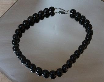 Natural WOOD BEAD Polished Wood Vintage Necklace Dark Brown [AG-66]