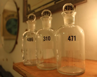 Vintage Apothecary Lab Glass Jars