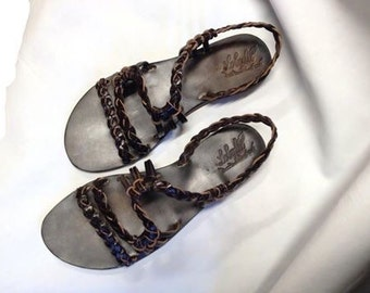 Sandals leather braided