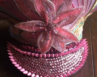 Repurposed Military Hat:  Pink Power