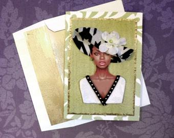African American card,church lady card, fashion hat card,hat card, church lady hat,mother of the bride card, hat lady card, fashion card