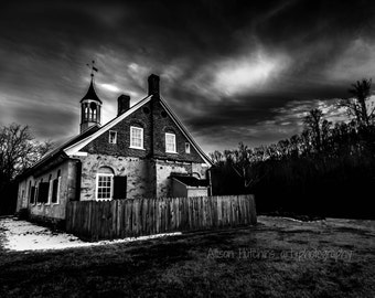 Black and White Old Church Print 8x12
