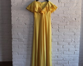 Canary Yellow Vintage 70's Long Dress