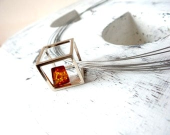 Sterling Silver Necklace , Geometric Necklace , Choker Necklace .