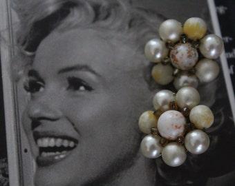 60's Vintage White Bead Clip-on Earrings