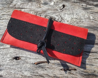 tobacco Pouch Black and red leather pouch