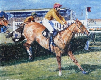 Vintage impressionist oil of horse and jockey over jumps signed
