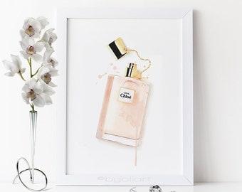 Perfume bottle print. Chloe perfume printable. Perfume bottle Chloe. Watercolor Chloe perfume. Fashion printable poster. Fashion artwork