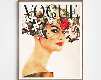 Fashion vintage cover poster. Watercolor fashion artwork. Fashion poster.Instant download