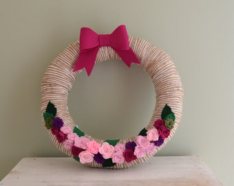 Twine and White Yarn Wrapped Wreath with Pink Hued Roses