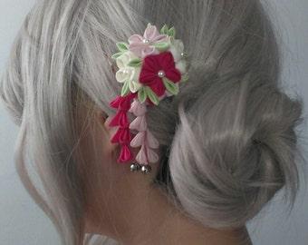 Pastel Colour Bouquet Tsumami Kanzashi Hair Pin