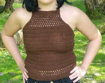 Brown crochet crop top
