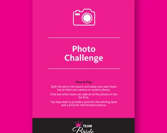 Photo Challenge Hen Party Game - Fun Hen Night games, Instant Download, hen party games, hens do games, Bachelorette Party Game