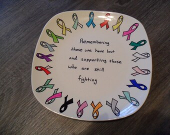 Cancer Ribbon Decorative Plate