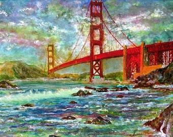 Golden Gate Bridge print, Golden Gate Bridge art, San Francisco art, San Francisco print, SF print, landscape print, cityscape print, bay