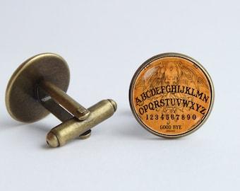 Ouija board cufflinks Ouija board jewelry Antique Spirit board cufflinks Witchcraft Mystical jewelry Vintage board Mysterious cufflinks