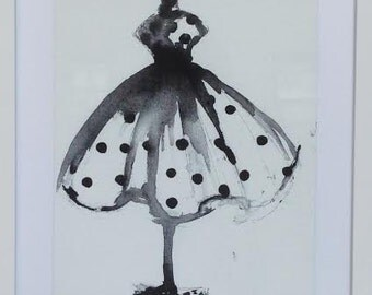 Polka Dot Dress Form Illustration