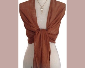 Brown Cotton Weave Pashmina Wrap Shawl Scarf - Lightweight - Gift Idea