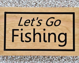 Let's Go Fishing Sign Wood Sign Fishing Decor Lake House Sign for Father's Day Groomsmen Birthday Fisherman Retirement Gifts for Him Cherry
