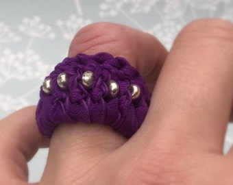 Purple Ring Crochet Fabric Ribbon Statement Ring Non Metal Jewelry Ring Size UK M-P Silver and Purple Unusual Jewelry