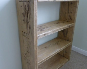 Rustic Solid Wood Bookcase built from reclaimed Scaffold boards