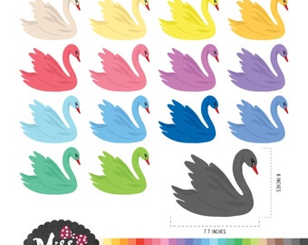 30 Colors Swan Clipart - Instant Download
