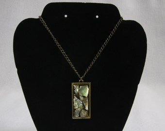 Antiqued brass abalone shell from Fort Bragg CA necklace