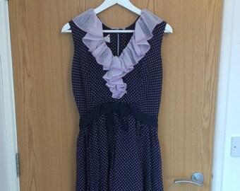 Navy polkadot ruffled dress