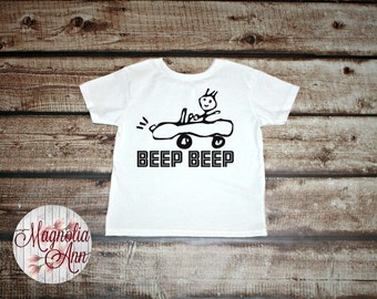 Beep Beep Car Drawing Toddler T-Shirt in White, Blue & Pink in Sizes 2T-5/6