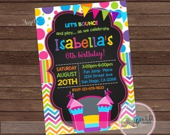 Bounce House Party Invitation, Bounce House Birthday Invitation Chalk, Bouncy House Birthday Party Invitation, Bounce House, Digital File
