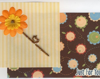 Beaded Birthday Flower handcrafted greeting card