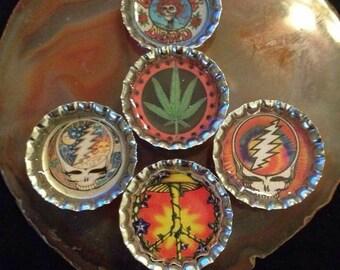 5 Pack Assorted Grateful Dead magnets