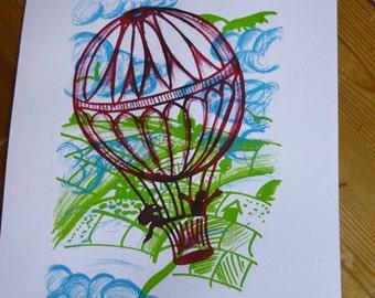 Hand Drawn and Hand Pulled Hot Air Balloon Screen Print