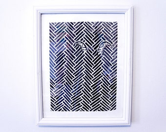 Goat Behind... Herringbone, Black and White, Handmade Poster, Linocut Print, Wall Art, Home Decor, Classic pattern print