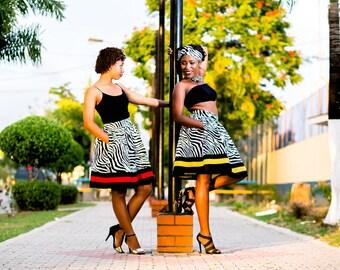 Zebra Chic - Animal Print, Midi Skirt