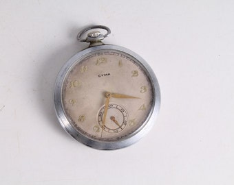 Vintage Old Swiss Made Cyma Open Face Pocket Watch.